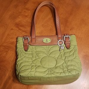 Fossil green quilted and leather bag
